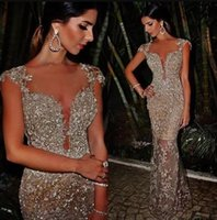 Wholesale Gold Sequin Celebrity Dress - 2018 Arabic Blingbling Sequins Prom Dresses Sheer Crew Neck Mermaid Cap Sleeves See Through Sexy vestidos de fiesta Celebrity Evening Gown