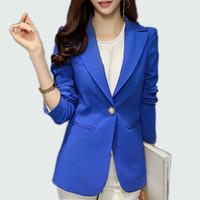 ingrosso blazer blu delle signore-Blazer da donna 2017 Blazer a maniche lunghe da donna Giacca da giacca Office Lady Blazer femminile da donna Femme Blazer blu / nero reale