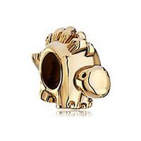 Wholesale Dinosaur Plates - Gold plated dinosaur animal European bead metal charm ladies bracelet with large hole Pandora Chamilia Compatible