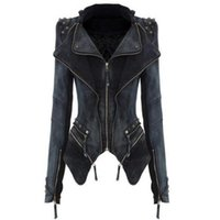 Wholesale Denim Jacket Women Xxl - Wholesale-new Spring& Autumn S-XXL Star Jeans Women Punk Spike Studded Shrug Rivet Shoulder Denim Cropped VINTAGE Jacket Coat