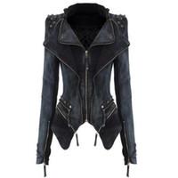панк шипованная куртка оптовых-Wholesale-new Spring& Autumn S-XXL Star Jeans Women Punk Spike Studded Shrug Rivet Shoulder Denim Cropped VINTAGE Jacket Coat