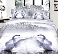 Wholesale Swan Duvet - 3D White swan bedding set super king size queen full double quilt duvet cover fitted sheets bed in a bag bedspreads cotton 5pcs