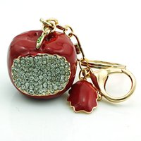 JINGLANG Moda Llaveros Oro Plated Clasificador de langosta Dangle Link Chains Rhinestone Red Apple Llaveros Joyería de Lujo