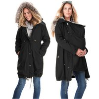 Wholesale Maternity Coat Pregnant - Fashion Maternity Clothings Winter Jackets Kangaroo Carrier Jacket Mother Fur Coat Patchwork Pregnant Woman Outwear Clothes
