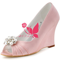 Wholesale Cheap Pink Wedges - Brand New Cheap Shoes Pink Satin Wedges Bridal Pearls Shoes Peep Toe Wedding & Party Shoes WS0111 Customise Size 33 to 43