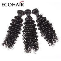 Wholesale Deep Wave Eurasian Hair - Indian Deep Curl Human Hair Indian Deep Wave Human Hair Weave Indian Remy Hair Bundle Deals Virgin Eurasian Curly ELITES HAIR