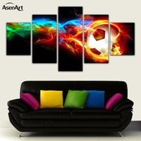 Wholesale Frames Fire - 5 Panel Fire Football Picture Colorful Painting for Living Room Soccer Fan Home Decor Wall Art Canvas Prints Framed Dropshipping