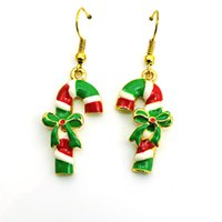 Wholesale Charms For Earings - Hot Sale Wholesale Charms Earings Dangles Green Bow Crutch Eardrop Fashion Christmas Earrings For Women Jewelry
