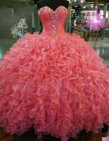 Wholesale Cheap Light Up Collars - Coral Beaded Collar Sweetheart Quinceanera Dresses 2016 Pleated Ruffled Backless with Rhinestones Sweet 16 Prom Party Gowns Cheap BA0563