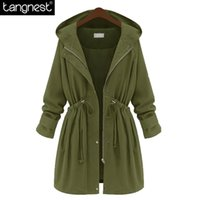 Wholesale Trench Coat Women Basic - Wholesale- TANGNEST Causal Loose Solid Trench 2017 Spring Woman Black Army Green Basic Warm Coats Oversized Hooded Long Surcoat WWF762