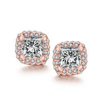 Wholesale Green Jade Crystal Stud Earrings - Big Zirconia Styles stud earrings 18k rose golden e041 gift Free 2016 Fashion New Jewelry Brincos de Prata