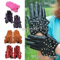 Wholesale Gloves Bow Rivet - Winter Motorcycle LADY Rivets Butterfly Bow Soft PU Leather Gloves for Women 4 Colors M L 00D2