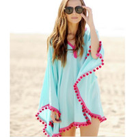 kimono de playa sexy al por mayor-2016 verano mujeres manga suelta gasa ocasional de la impresión de la blusa de la playa camisa cubrir encima del poncho del kimono atractivo