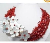 Direction gros-Classic Red Fashion Corail Blanc Shell perle fleur 4 rangées collier