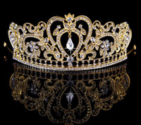 Wholesale royal wedding veils - NEW Luxury Royal princess Baroque rhinestone Wedding Crowns Bridal Veil Tiara Crown Headband performance crowns gold and silver CC188
