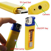 Wholesale Spy Photo Camera - 1pcs Yellow&blue Mini DV lighter Camera mini video camera Lighter Spy Cameras portable Video And Photo Recording video support for