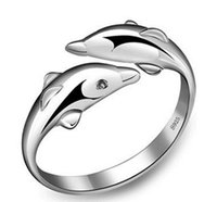 Wholesale Sterling Adjustable Ring - New Arrival Wholesale 925 Sterling Silver Animal Dolphins Rings Finger Ring Adjustable JZ-SHT