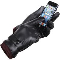 b ekranı toptan satış-Beş Parmak Eldiven Kalınlaşmış Yıkanabilir 360 Derece Dokunmatik Ekran Eldiven Siyah PU Kış Erkekler Ve Kadınlar Için Sıcak Malzemeleri Tutmak 14yf B