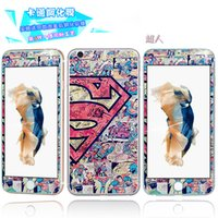Wholesale Iphone 3d Skull - Tempered Glass 3D Superman Cartoon Premium Screen protector Front Back Skull Hello Kitty Girl Boy For Iphone 6 6S Plus 4.7 5.5 Skin Package