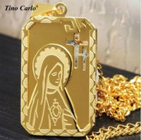 Wholesale golden jesus - 24K gold plated 14 Design Christian Jewelry Golden Our Lady of Guadalupe Virgin Mary Saint Medal Religious Necklace jesus necklace