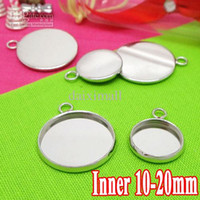 Wholesale Earring Tray Diy - 100PCS Antique Silver Pendant Blank with inner 10-25mm Bezel Setting Tray for Cameo Cabochons,Wholesale DIY Jewelry