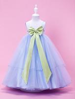Wholesale Stretch Dress Princess - A-line Princess Ball Gown Tea-length Flower Girl Dress - Tulle Stretch Satin Sleeveless Halloween Easter Birthday Christmas Clothes