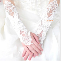 Wholesale Ivory Satin Wedding Fingerless Gloves - 2015 Bridal Gloves Luxury Lace Flower Glove Hollow Wedding Dress Accessories White Bridal Gloves Wedding Glove White Satin Gloves Wholesale