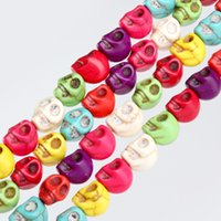 Wholesale DIY mm mm cheap vintage red howlite turquoise carve Hallowmas skull spacer loose beads fit bracelet necklace