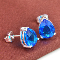 Wholesale blue topaz drop earrings - Free Shipping--2pairs   Lot Lucky Shine Classic Drop Shiny Fire Blue Topaz 925 sterling Silver Stud Earrings