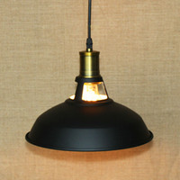 Wholesale black metal lamp shade - Fuloon Vintage Industrial Ceiling Light 1 Light Metal Shade Loft Coffee Bar Kitchen Hanging Pendant Llight Lamp Shade Black&White