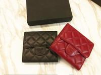 Wholesale Triple Wallets - Famour Luxury Brand Real Lambskin Three Fold Wallet Plaid Genuine Leather Triple Fold Purse Women Wallet Card Holder Free Shipping