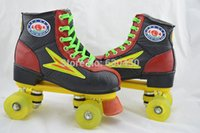 Wholesale Wheel Roller Shoes For Women - Wholesale-Male&Female Double roller skates For Sports High-elastic PU Wheels Yellow Black Skating Shoes