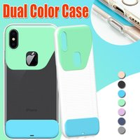Dual Color Soft TPU Hard PC Ultra fino Transparente Crystal Clear Shockproof Cover Case para iPhone X 8 7 Plus 6S Samsung S8 S7 Edge Note 8