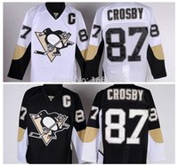 Wholesale Cheap Sport Patches - Pittsburgh Penguins #87 Sidney Crosby Jersey Home Black Road White C Patch NEW NHL Ice Hockey Jersey Cheap Sport Shirt M-3XL