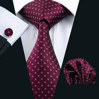 Wholesale Maroon Tie - Maroon Suit Necktie Hankerchief Cufflinks Set Jacquard Woven Business Formal Necktie 8.5cm Width Casual Set N-0875