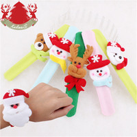 Wholesale red slap bracelets - 60Pcs Lot Christmas Slap Bracelets Santa Claus Snowman Slap Pat Circle Hand Ring Wristband Xmas Decorations Ornament For Children Gifts