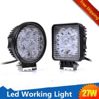 "Wholesale Power Beam Motorcycle - 4"" Inch 27W Round Square LED Work Light Lamp Off Road High Power Motorcycle SUV JEEP Offroad 4x4 Tractor Truck 30° Spot 60° Flood Beam Light"