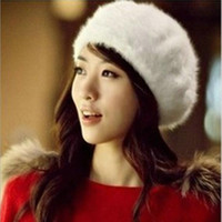 Wholesale angora women - Wholesale-Korean fashion winter warm women cap rabbit fur hat pure angora beret cap tide of street warmth hat