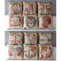 Wholesale chinese throw - Chinese Zodiac Cushion Cover 46*46cm Throw Pillow Case cotton and linen Reversible Pillowcase Home Car Decoration IB606