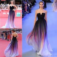Wholesale Elie Saab Dresses Blue - 2015 Hottest Elie Saab Prom Dresses Have Real Picture A line Evening Gowns Formal Gradient Color Chiffon Pleated Ombre Plus Size Party Gowns