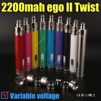 Wholesale Ego Mods Vv - Best eGo II twist vv 2200 mAh 3.3V-4.8V Variable Voltage ego 2 2200mah huge capacity battery for e cigarettes aerotank iTank mods atomizers