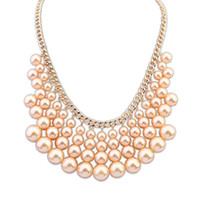 Wholesale Multilayer Choker Bib Necklace - Multilayer pearl necklaces pear Tassel pendant necklaces Bohemia Bib choker statement necklace for women fashion jewelry Christmas 160439