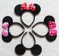 Wholesale Micky Mouse Plastic - 2017 Kids adult minnie mouse micky mouse ears headband Children's Hair Accessories for chirstmas gift