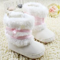Wholesale Kids Flat Bow Shoes - Warm Baby Girl Winter Toddler Boots With Butterfly-knot Anti-slip Shoes baby kids shoes for free shipping