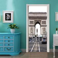 paris zimmer dekor großhandel-77x200 cm 2 teile / satz paris arc de triomphe kreative tür aufkleber für schlafzimmer wohnzimmer diy tür renovierung aufkleber wohnkultur
