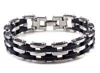 pulseras estilo hombres al por mayor-Estilo punky negro de acero inoxidable de silicona para hombre pulsera del acoplamiento de cadena Biker pulseras de bicicleta joyería de los hombres pulsera D258L