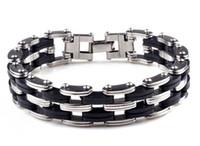herren schwarze silikon armbänder großhandel-Schwarz Punk Style Edelstahl Silikon Herren Armband Gliederkette Biker Fahrrad Armbänder Männer Schmuck Armband D258L