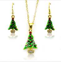Wholesale Christmas Trees For Cheap - Hot Fashion Christmas Jewelry Set Gold Plated Elegant Christmas Tree For Women Earrings Necklace Set Ear hook + Sautoir Cheap Wholesale