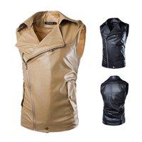 Wholesale Diagonal Zipper Leather Motorcycle Jacket - Hot Sale Jaqueta Masculina Leather Jacket Men Diagonal Zipper Sleeveless Leather Slim Mens Lapel Washing Motorcycle Py824