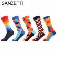 сетчатые носки оптовых-Wholesale- SANZETTI 5 pair/lot Men's Funny happy Socks Argyle Combed Cotton Socks Colorful stripe Grid Tube geometric Long Socks